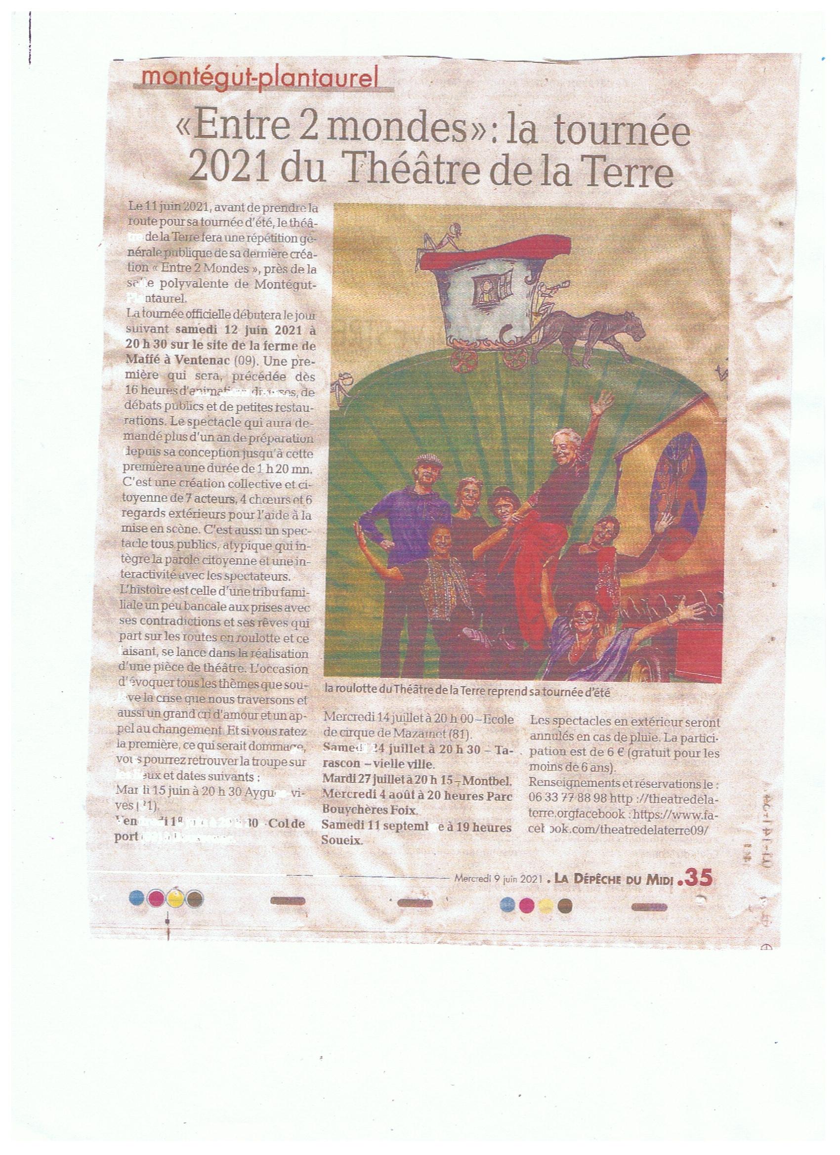 entre 2 monde - avant première montégut-plantaurel - roulott'spectacles- ariège - theatre de la terre