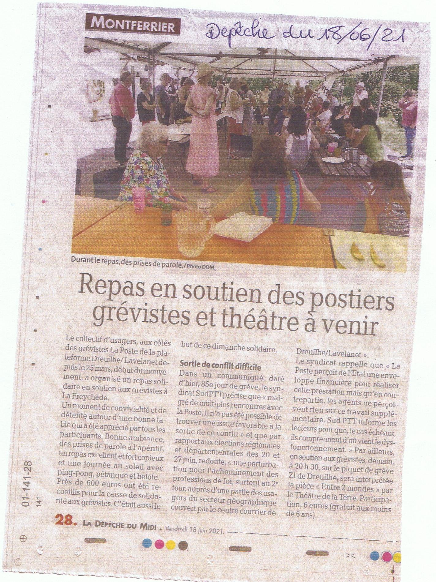 article dépèche - soutien aux postier de dreuilh- creation collective citoyenne- entre 2 mondes - theéâtre de la terre- Ariège